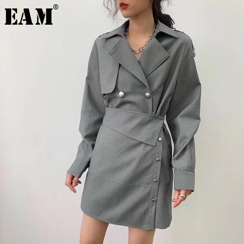 [EAM] Women Gray Button Irregular Split joint Dress New  Lapel Long Sleeve Loose Fit Fashion Tide Spring Summer 2020 1U992