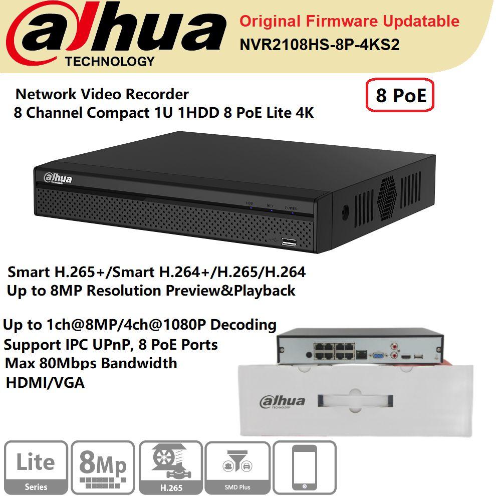 الأصلي داهوا شبكة مسجل فيديو NVR2108HS-8P-4KS2 8 قناة 1U 1HDD 8PoE لايت 4K H.265 دعم IP كاميرا UPnP HDMI/VGA