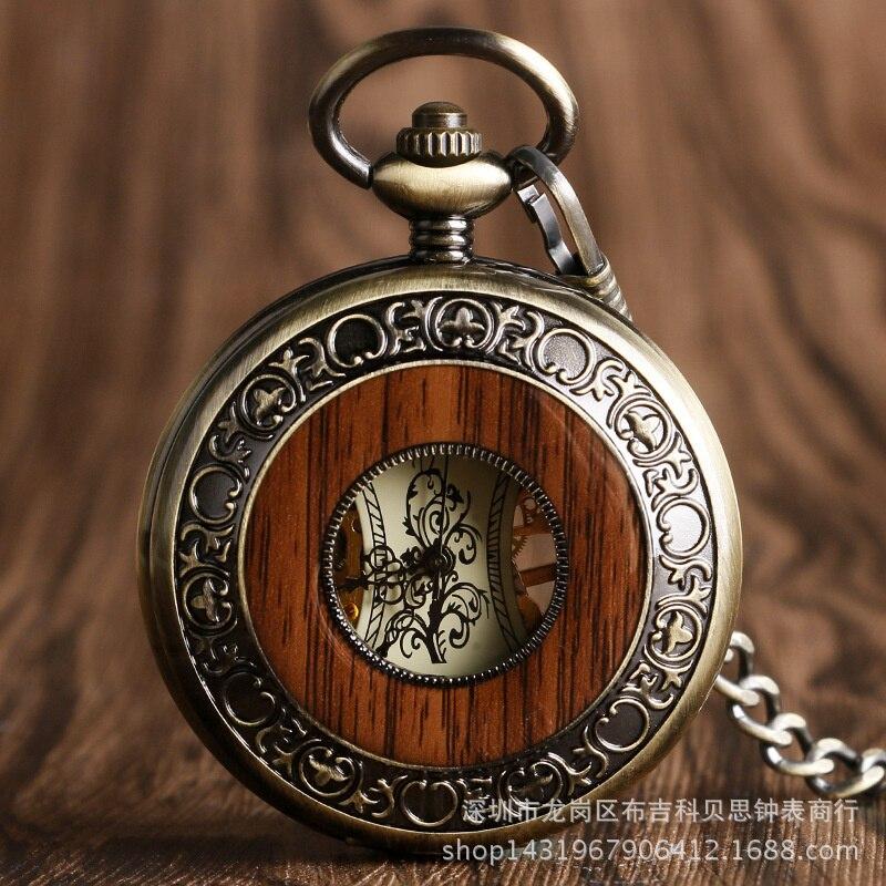 W Wooden Ring Skeleton Pocket Watch Roman Digital Manual Mechanical Pocket Watch New Fashion Карманные Часы