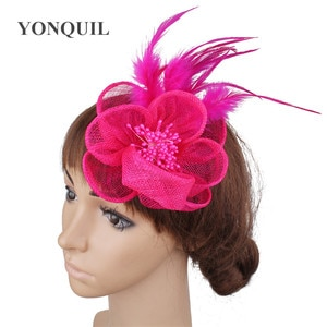 Hot Pink Flower Sinamay Headwear Ladies Hair Fascinators Accessories Hair Pin With Fancy Feathers Headdress For Elegant Ladies