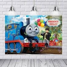 Dessin animé Train photographie arrière-plans Thomas le réservoir moteur chemin de fer pont mur papier Studio Photo bannière décors