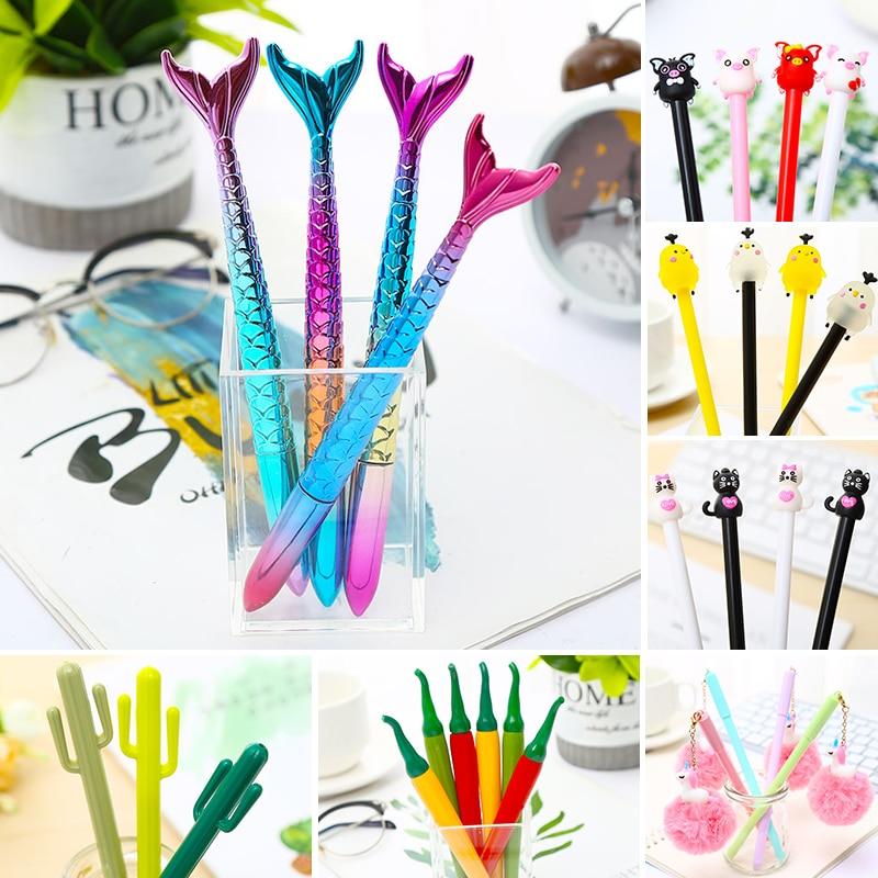 Bolígrafos de Gel divertidos Kawai creativos, bolígrafos de Panda, gato, Cactus, perro, sirena, artículos de papelería para la escuela, tienda, Material Kawaii, Kit de cosas, accesorio