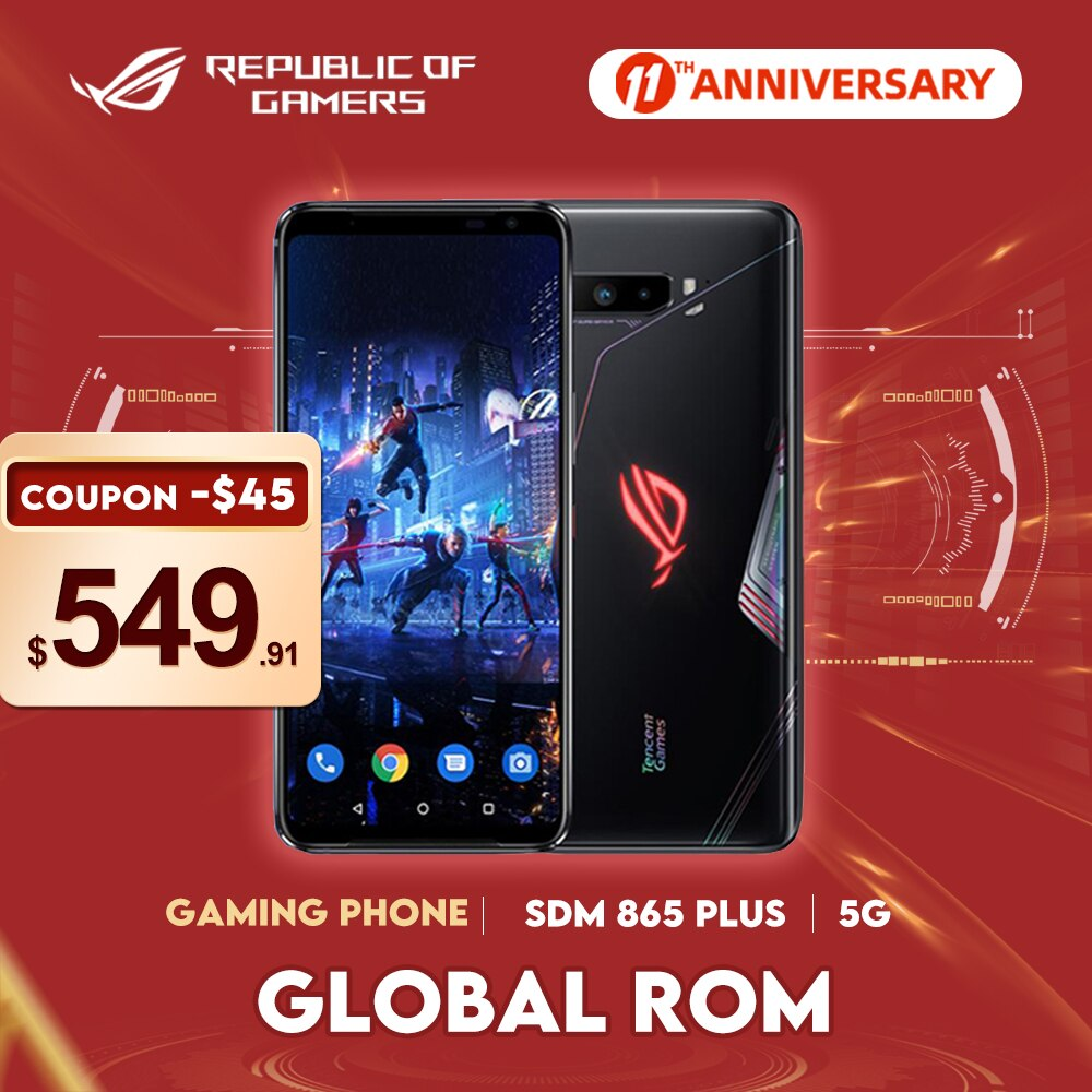 Global ROM ASUS ROG 3 Phone 5G Smartphone Snapdragon 865/865Plus 128GB 6000mAh NFC Android Q 144Hz FHD+ AMOLED Gaming Phone ROG3