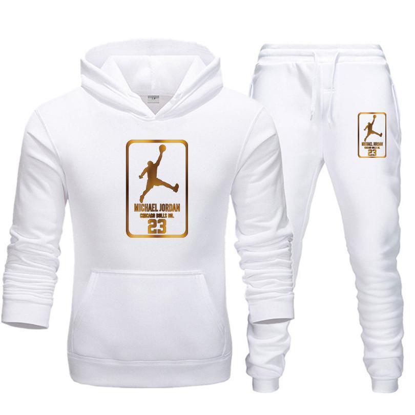 New Men Hoodies Suit Jordan 23 Tracksuit Sweatshirt Suit Fleece Hoodie+Sweat Pants Jogging Homme Pul
