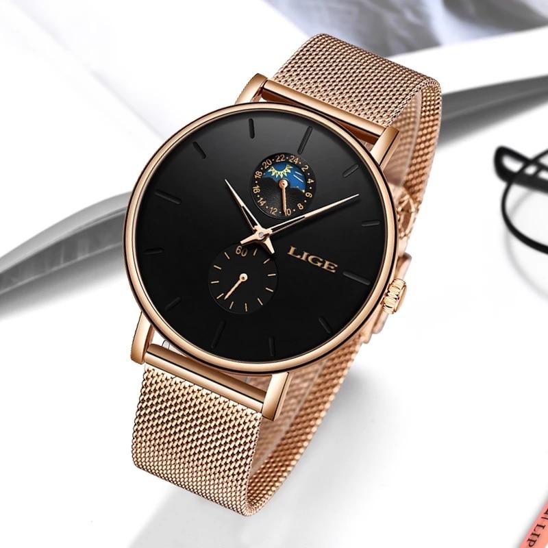 LIGE Woman Watches Rose Gold Luxury Watch Women Quartz Waterproof Women's Wristwatch Ladies Girls Watches Clock relogio feminino enlarge