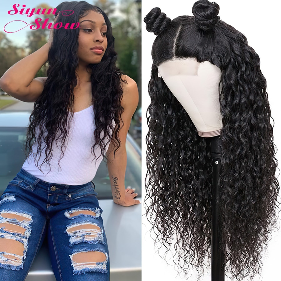 250% Density 30 Inch Longer Length 4x4 Water Wave Lace Closure Wigs Brazilian Human Hair Wigs With Baby Hair Wigs For Women