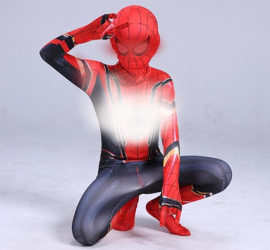 child adult cosplay amazing spiderboy tights halloween costume zipper suit super heroes bodysuit for kids party Amazing Iron Costume Kids Adult Bodysuit Suit Children Cosplay Halloween Costume For Kids Boy
