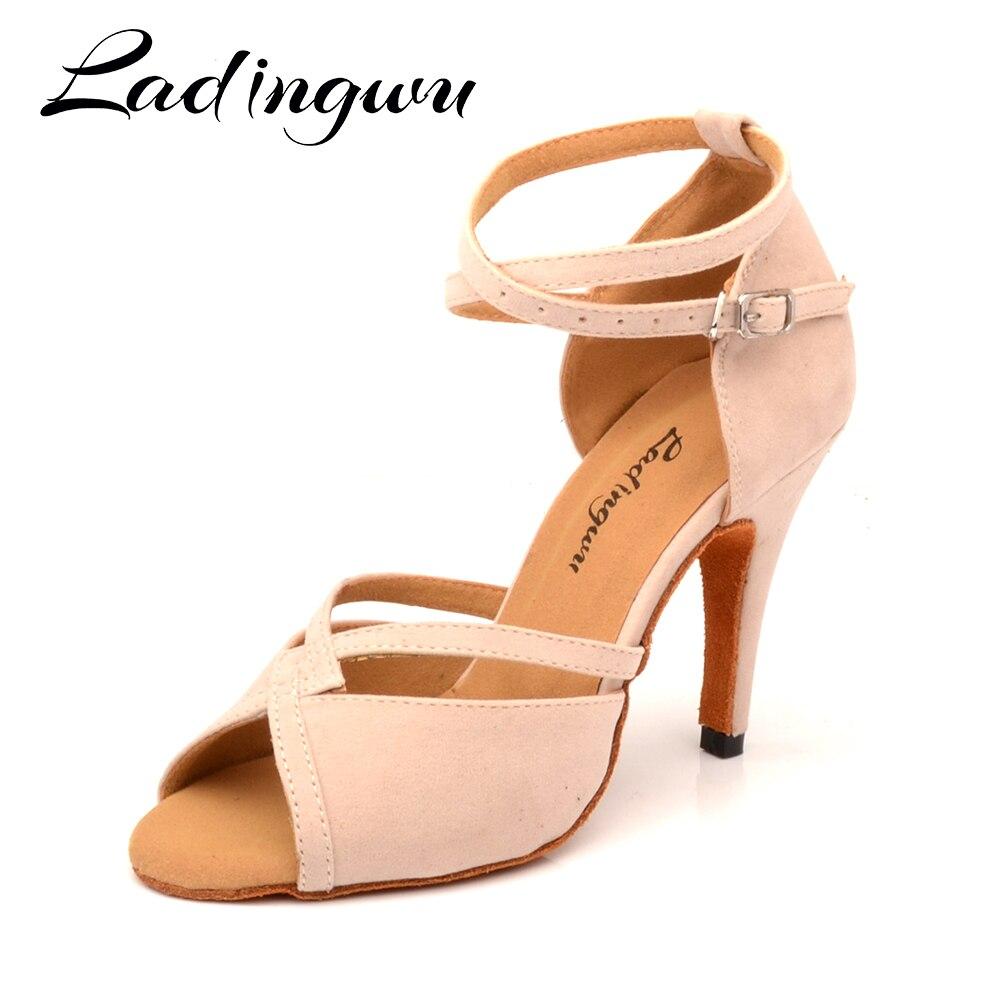 Ladingwu Hot Women Dance Shoes Latin Ballroom Ladys girls Salsa Beige Suede Heels 6-10cm