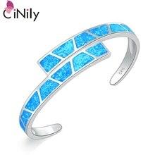 CiNily océan bleu feu opale pierre bracelets ouverts argent plaqué Bracelet réglable luxe grand printemps bijoux bohême Boho femme