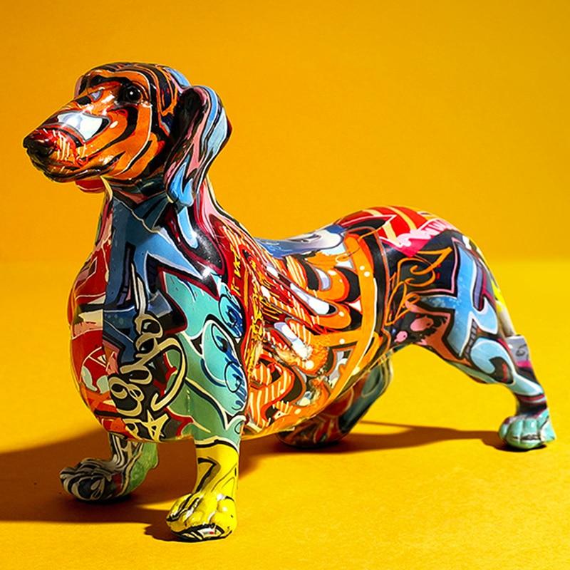 تمثال كلب ألماني مطلي وملون ، ديكور منزلي حديث ، خزانة نبيذ ، مكتب ، مصغر من الراتنج