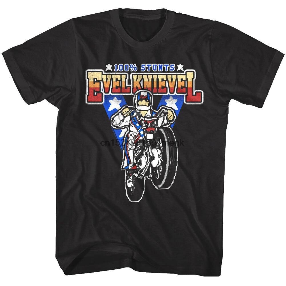 Evel Knievel 100% acrobacias 8Bit Pixel juego T-Shirt de hombres americano Daredevil de