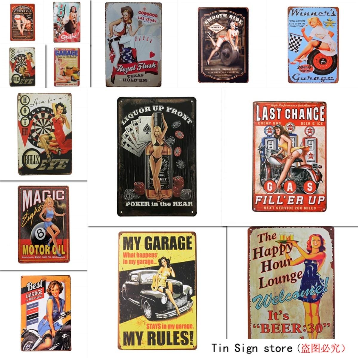 1st warehouse ретро Pin Up Sexy Girls Оловянная металлическая табличка, настенный Декор для дома Garage Man Cave Bar, 8x12 дюймов/20x30 см (Bull's Eye)