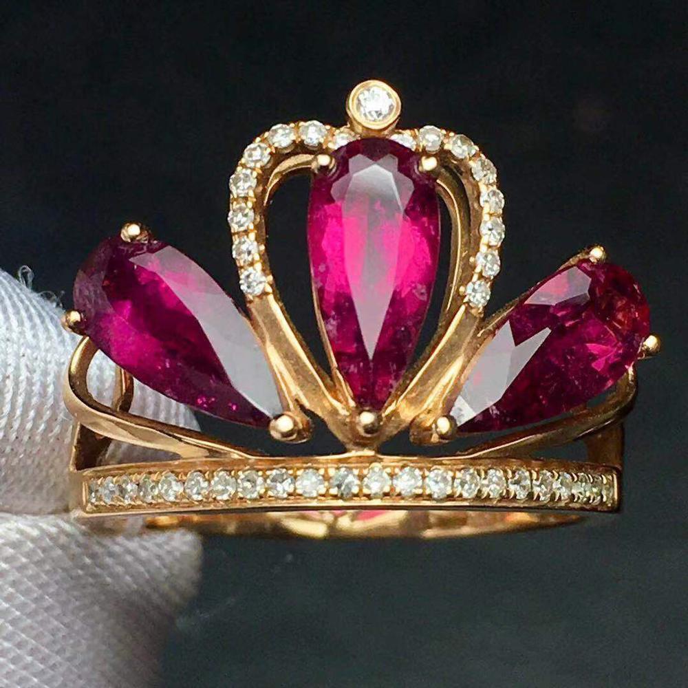 Rubillite Ring Fine Jewelry Pure 18 K Gold Natural Rubi Tourmaline 2.4ct Gemstone Diamond Gift Female Rings for Women Fine Ring