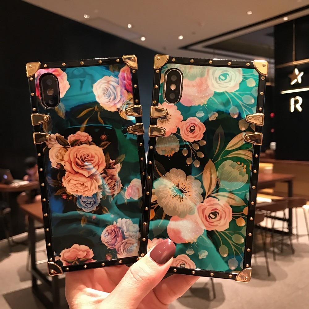 Funda de teléfono con pintura al óleo de flores azul claro para IPhone 7 8 11 pro XS Max XR X SE20 cuadrado en forma de caja en forma de ángulo de Metal