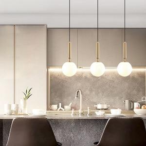 Modern Minimalist Nordic Wind Glass Ball Chandelier Single Head Creative Restaurant Bar Lamp Master Bedroom Lights Lighting