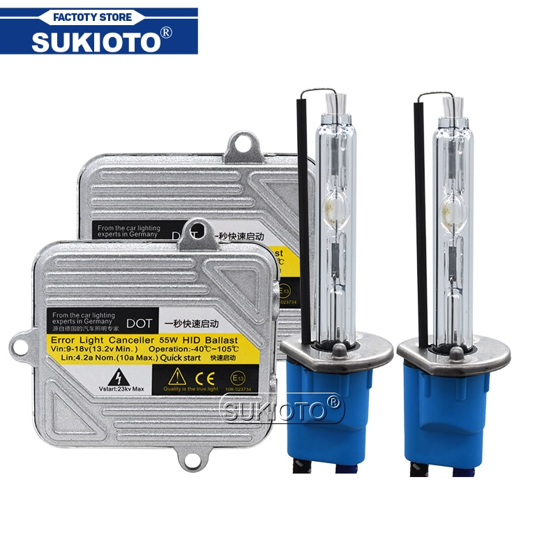 SUKIOTO 55W 5500K faro de coche xenón H1 H7 H11 HB3 HB4 9012 D2H HID Kit de conversión 12V HID Delgado rápida reactancia de brillo ignición