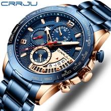 CRRJU 2020 Fashion Stainless Steel Mens Watches Top Brand Luxury Business Luminous Chronograph Quartz Watch Relogio Masculino
