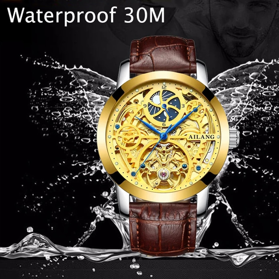 AILANG Men Business Luminous 30M Waterproof Display Automatic Mechanical Moon Phase 12 Hour Pointer Leather Strap Watch 6812A enlarge