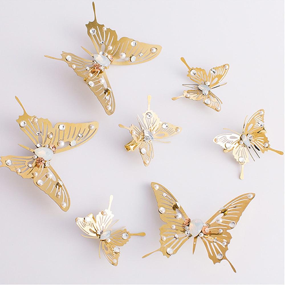 1PC Trendy Goldene Schmetterling Libelle Haarnadeln Braut Kopfschmuck Hochzeit Haar Zubehör Transparent Flügel Libelle Haar Clip