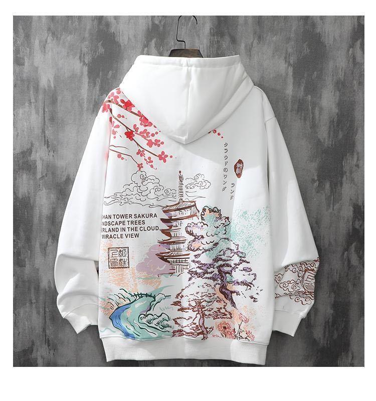 رداء رجالي بغطاء للرأس مخملي نمط هاراجوكو للخريف والشتاء ملابس فضفاضة موضة الهيب هوب اليابانية ملابس الشارع الشهير مع قلنسوة