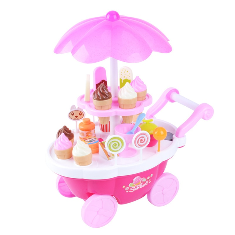 20 33 38cm simulation mini trolley girl candy car ice cream shop supermarket children play toy ice cream cart New Children's Play Toy with Light Music Mini Supermarket Candy Boat Ice Cream Barbecue Trolley