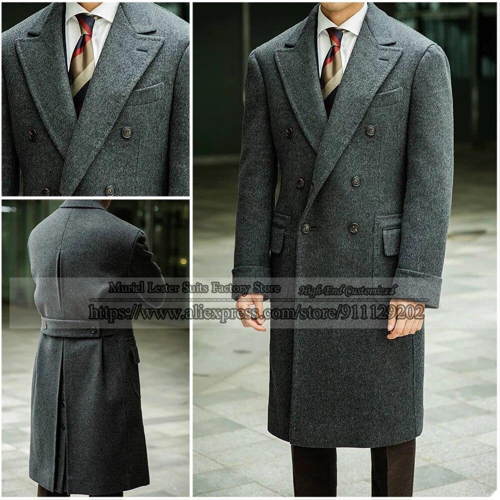 الشتاء الصوفية Sobretudo Masculino رمادي الرجال معطف مخصص مزدوجة الصدر سترة معطف الزفاف الرسمي بلغت ذروتها التلبيب