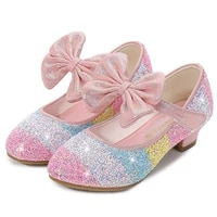 girls leather shoes princ shoes children shoes round toe soft sole big girls high heel princ crystal shoes single shoes