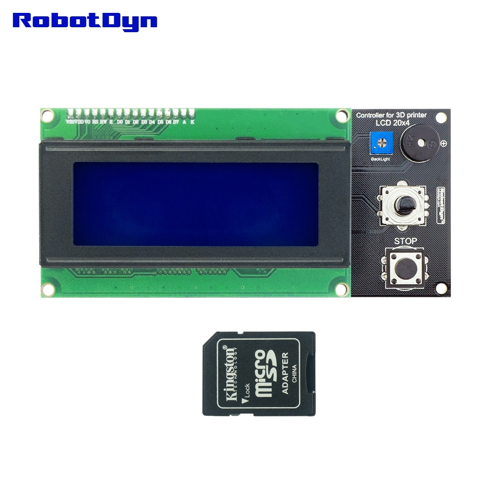 Pantalla de impresora 3D controlador inteligente para rampas 1,4, texto LCD 20x4 (2004), SD y lector de tarjetas MicroSD compatible con Arduino DIY