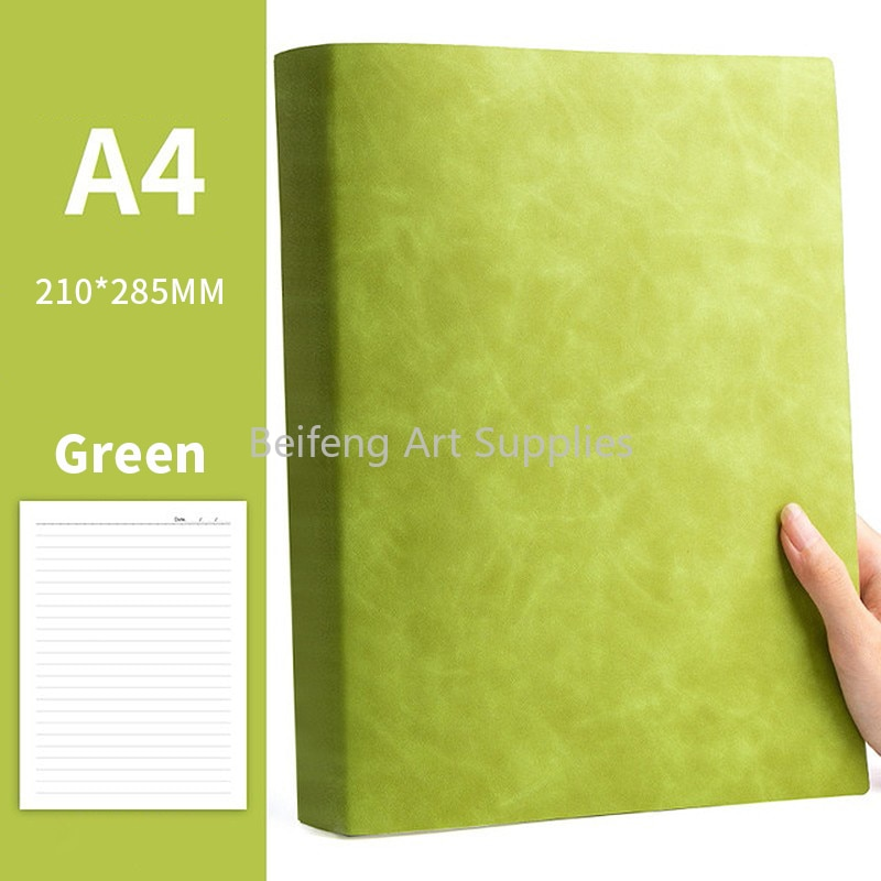 A4 soft leather notebook super thick simple student use work meeting notebook ins style large notepad 180 degrees can be flatten