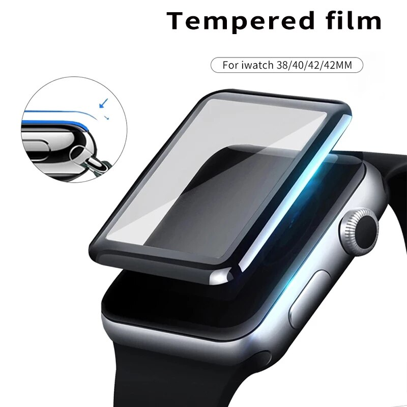 100d curved tempered glass for apple watch series 38 40 42 44 38 42mm hd screen protector film for iwatch 5 4 3 2 1 full glue 3D Full Cover Tempered Glass for Apple Watch Series 3 2 1 38 42MM Screen Protector iWatch 4 5 6 40MM 44MM for Apple Watch Glass