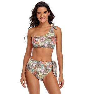 Harajuku Bikini Swimsuit Adjustable Printed Fitness Swimwear Women Sale Two Piece Bathing Suit