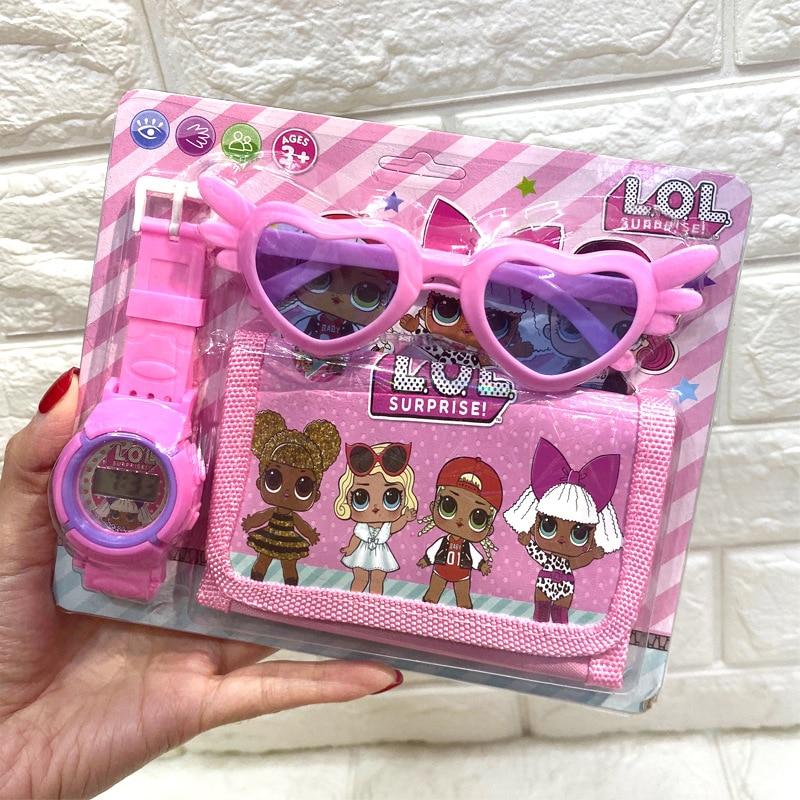 Regalo Original de LOL Surprise Dolls, 3 en 1, figuras Lol, gafas de sol,billetera con reloj Digital, figura de Anime kids watch