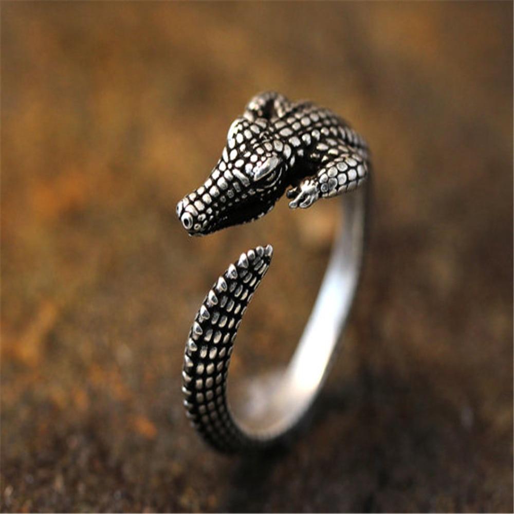Qiamni steampunk 3d crocodilo dedo anéis punk animal junta ajustável anéis para mulheres unisex hip hop festa jóias presente