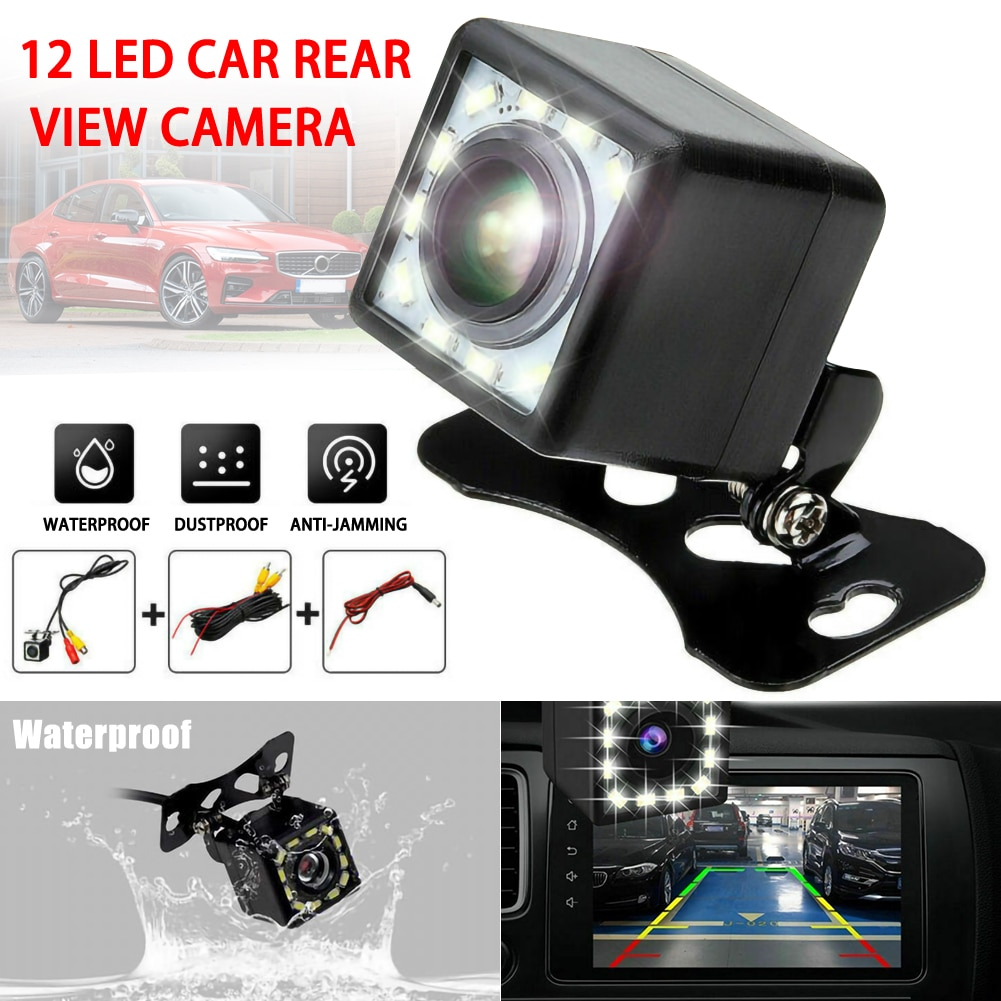 Автомобильная камера заднего вида, 12 светодиодный, ночное видение, парковочный монитор, водонепроницаемый, 170 градусов, HD видео