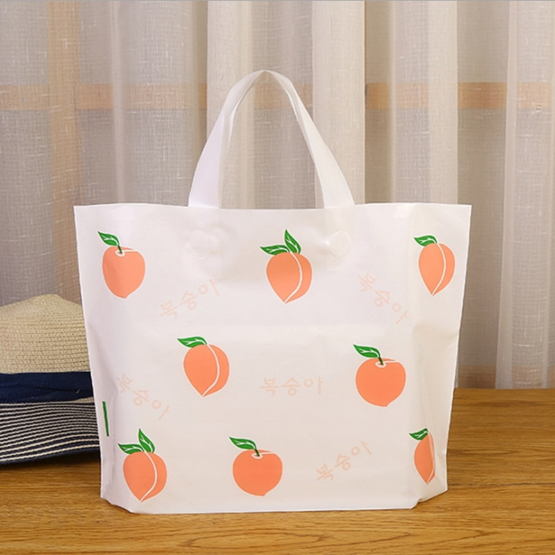 INTEGRITY 50pcs Thickened Ins Cherry/Peach Small Fresh Style Plastic Tote Bag Girls Dress Shoes Cosm