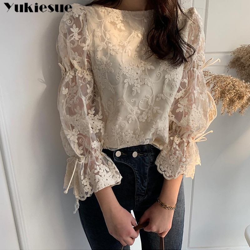 Primavera outono nova menina chiffon camisa moda bordado rendas topos elegante alargamento manga casual blusa feminina blusas das mulheres