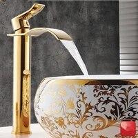 Robinet cascade de couleur or et blanc  en laiton  mitigeur eau chaude et froide  sinstalle sur un lavabo ou un evier  pour la salle de bain