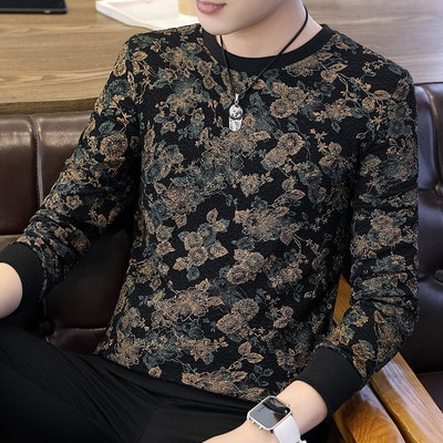 2019 autumn and winter new men's casual color matching letter round neck long-sleeved T-shirt