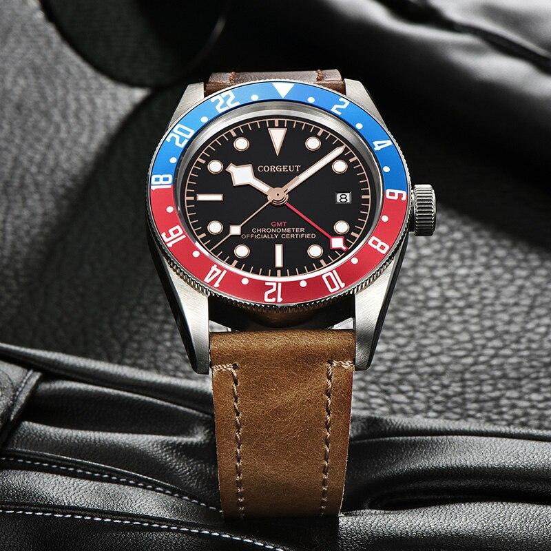 CORGEUT العلامة التجارية الفاخرة ساعة رجالي مضيئة لؤلؤة DG3804 GMT التلقائي العسكرية الرياضة تاريخ 10ATM ساعة السباحة ساعة ميكانيكية