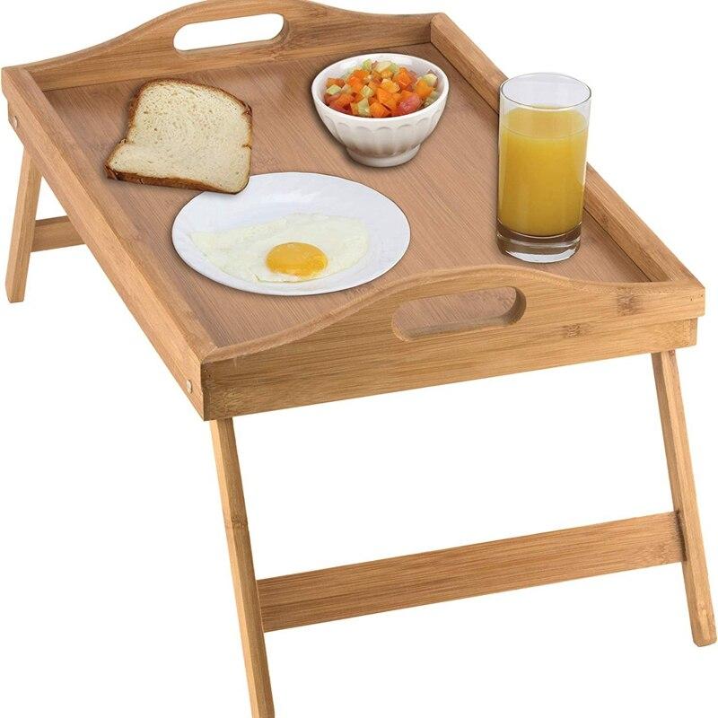 Mesa plegable portátil, mesa tipo bandeja para cama con patas plegables y bandeja para desayuno, mesa de cama de bambú y bandeja de cama con patas