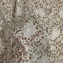 Tissu brodé en soie et lait 1 cour   Blanc, soluble dans leau, cordon Guipure français de haute qualité, tissu dentelle de mariage nigérian