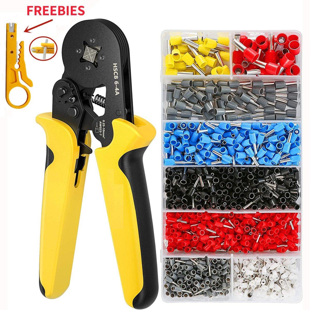 crimping tool set crimp tools wire crimping tool kit ferrule crimping plier tools 1200pcs wire ferrule terminals kit 0 25 10mm² Ferrule Crimping Tool Kit - Sopoby Ferrule Crimper Plier AWG 28-7 (0.08-10mm²) w/ 1200pcs Wire Ferrules Crimp Wire Ends Terminal