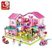 sluban pink dream series building blocks 896pcs b0721 holiday villa assembled model bricks kids toy girl pink house gift