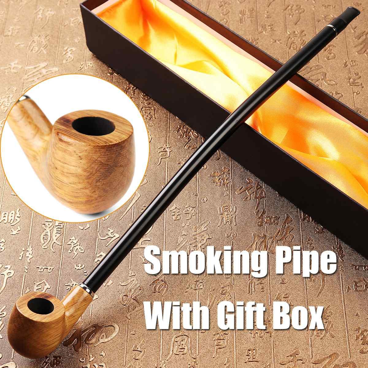 Pipa de fumar de madera de mango largo Pipa de madera sólido pipa de fumar tabaco con hermosa caja de regalo accesorios de cigarrillos