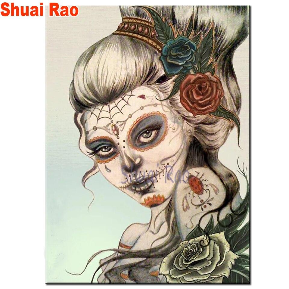 Tatuajes dominantes rose skull niña diamantes bordado, pintura de diamante perforado redondo cuadrado completo 5d diy diamante mosaico mujer regalo