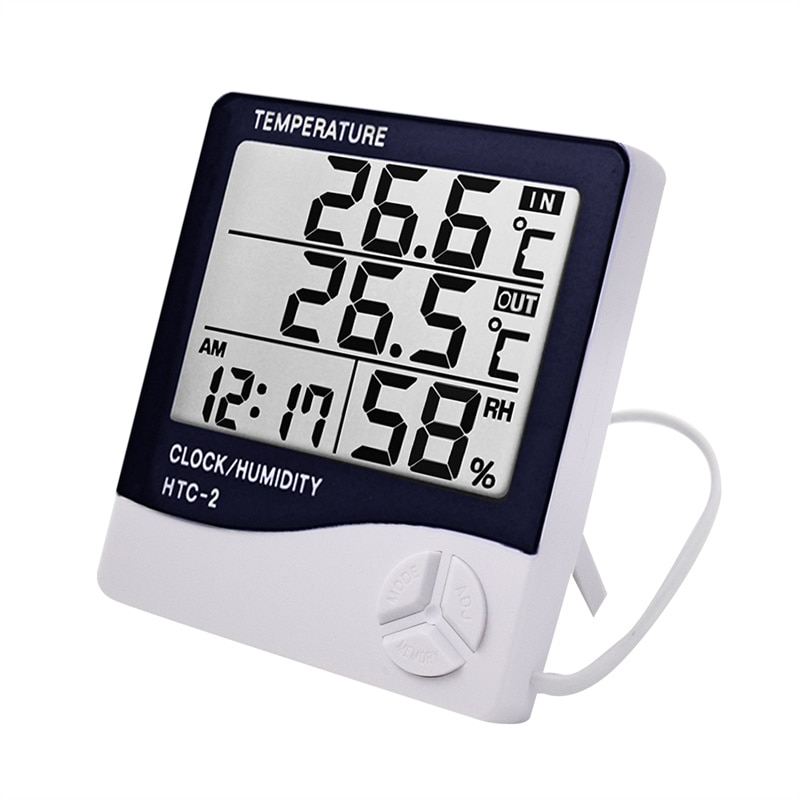 LCD Electronic Digital Temperature Humidity Meter Thermometer Hygrometer Indoor Outdoor Weather Station Clock For HTC-1 HTC-2 htc 1 indoor room lcd digital electronic thermometer hygrometer measuring temperature humidity meter alarm clock weather station