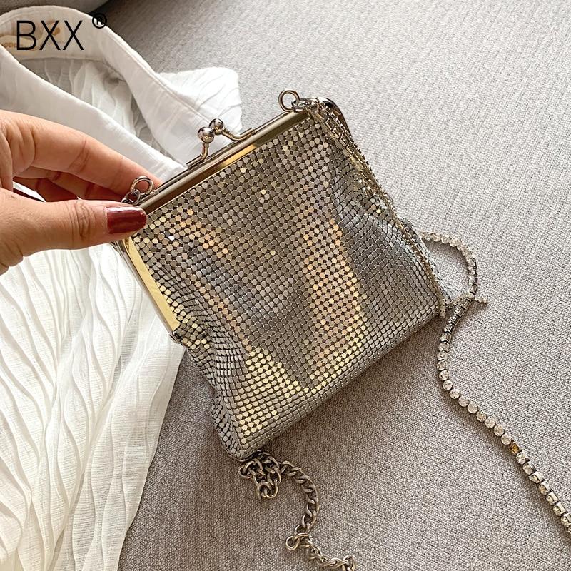 [BXX] Chain Crossbody Bags For Women 2021 Spring Luxury All-match Quality Shoulder Messenger Bag Female Handbags Purses HK542
