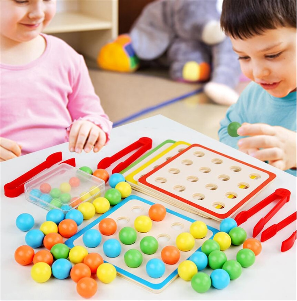 Wooden Montessori Toys Writing Board Clip Bead Board Training Clip Beads Puzzle Board Early Educational Toy For Children