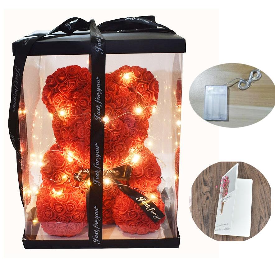 دروبشيبينغ 40 سنتيمتر الصابون رغوة روز الدب مع Led ضوء هدية مجانية بطاقة في هدية مربع ل عيد الحب و Girldfriend