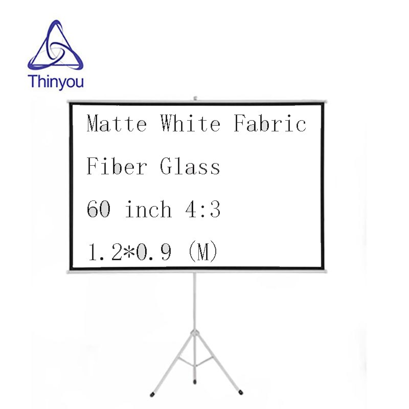 Pantalla de soporte Thinyou de fibra de vidrio blanco mate 60 pulgadas 43 HD proyector pantalla portátil Pull Up con soporte estable trípode